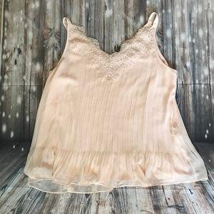 Chico's Pink Lace Sleeveless Pleated Top Sz 12